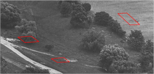 Detail of Historic Aerial Photograph Showing the Suggested Locations of Structures Seen in the Henry Chandlee Forman Map