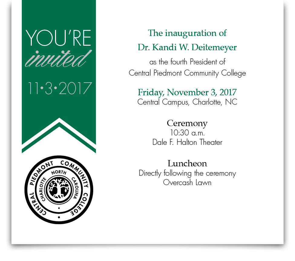You're Invited to the inauguration of Dr. D