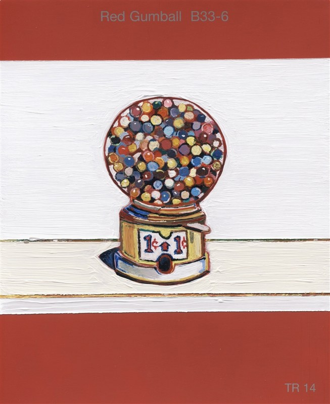 """todd-johnson, artist, image from """"Small Histories"""" exhibit; a gumball machine painted on a red gumball colored paint chip."""