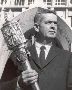 John Cavanagh '35 with the Providence College mace he designed