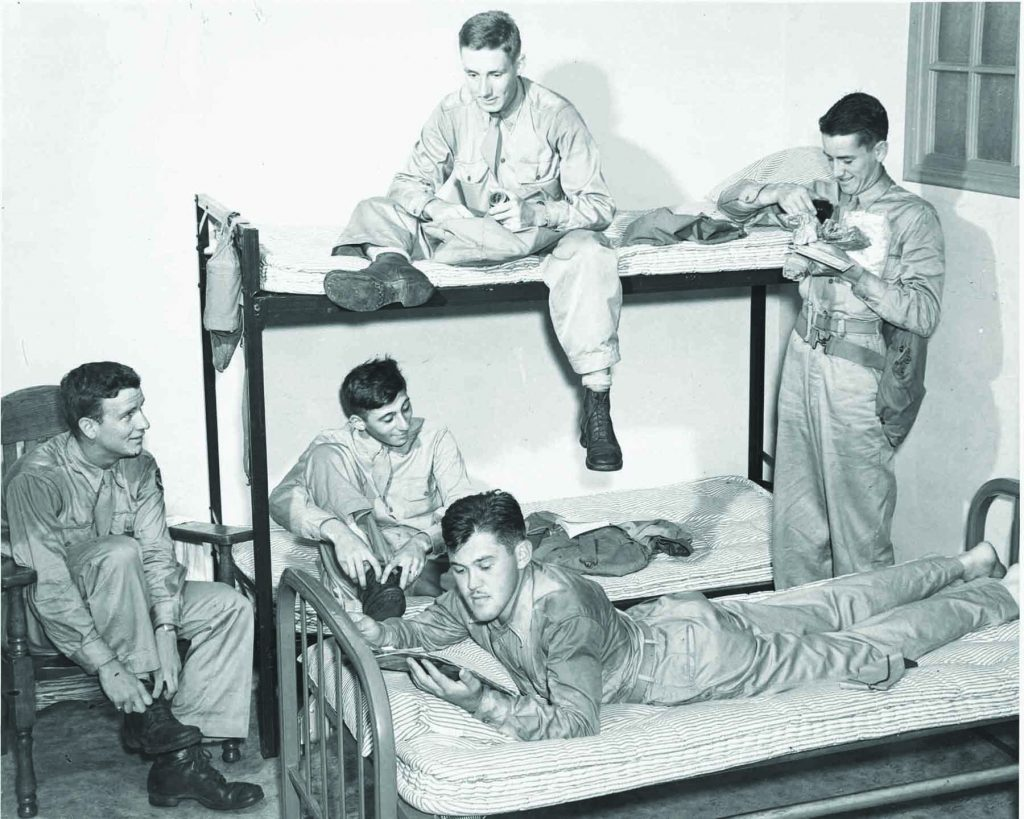 Army Specialized Training Program, July 1943, students in bunks, soldiers interacting, ASTP History, Historical, Archives