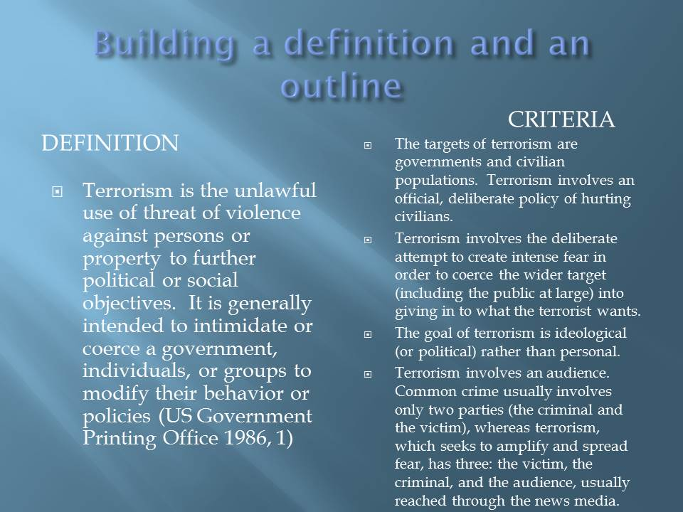 define terrorism essay Terrorism essay 1 (100 words) terrorism is the unlawful act of violence which is used by the terrorists to make people fear terrorism has become a common social issue.