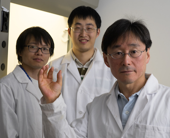 Rice graduate students Xiaowei He, left, and Weilu Gao, center, and Professor Junichiro Kono show a film of highly aligned carbon nanotubes made in Kono's lab.