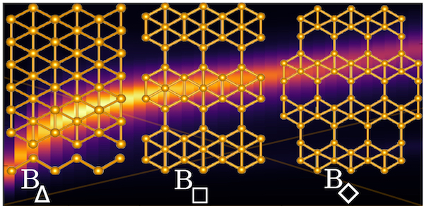 Rice University scientists calculate that the atom-thick film of boron known as borophene could be the first pure two-dimensional material naturally able to emit visible and near-infrared light by activating its plasmons. The Rice team tested models of three polymorphs and found that triangular borophene, at left, was capable of emitting visible light, while the other two reached near-infrared. Illustration by Sharmila Shirodkar
