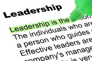 """Definition of """"leadership"""" with a green marker highlighting the text."""