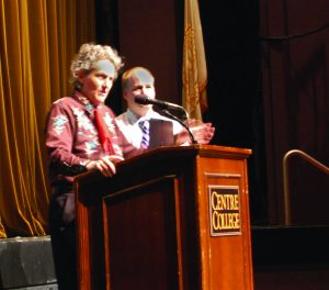 First-year book author Temple Grandin at her speech in Newlin on Thursday, Sept. 12.