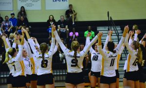 The Centre volleyball team celebrates after scoring a point in a previous match this season.