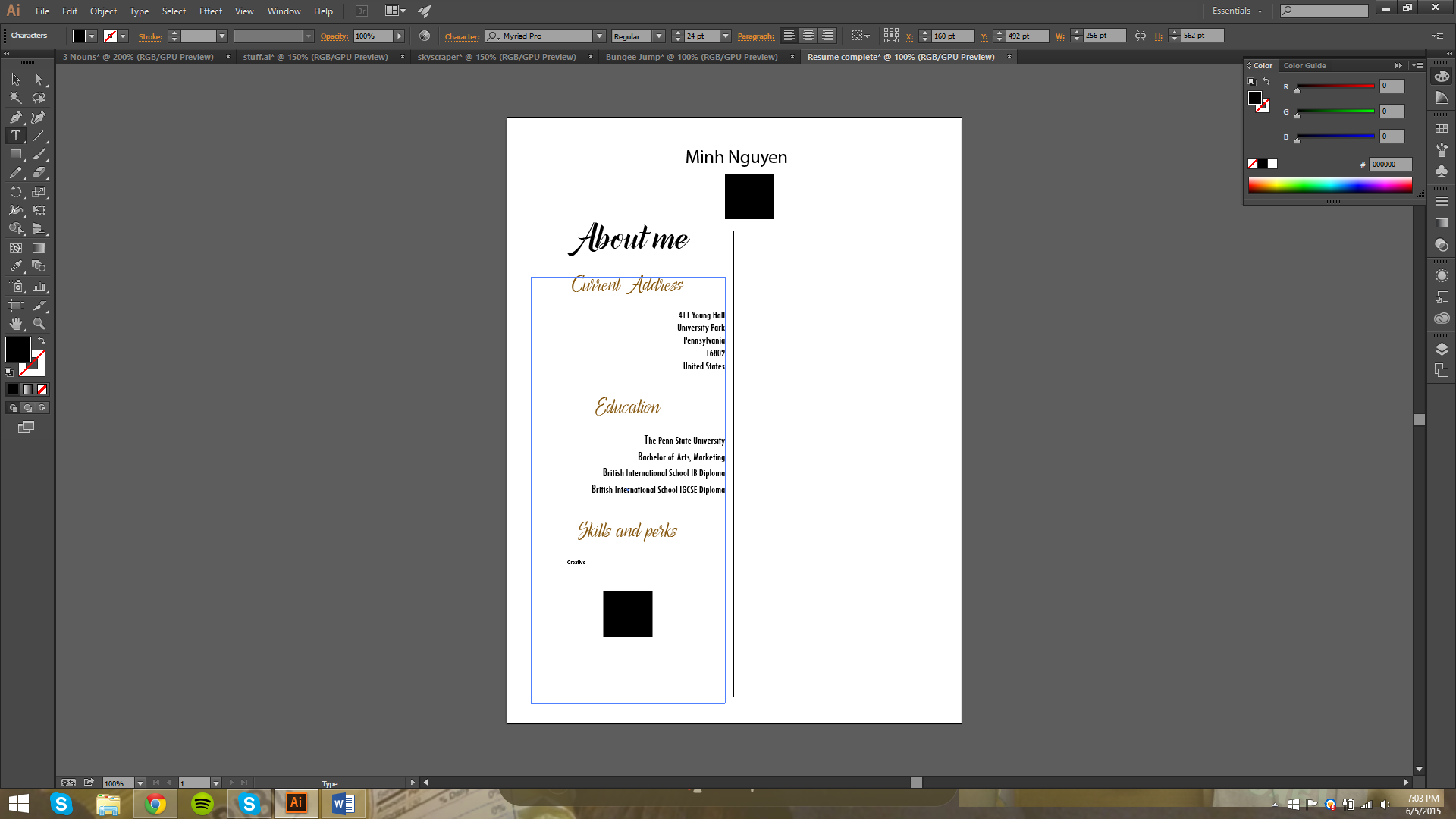 Graphic designs (Font & Resume) | About moi.