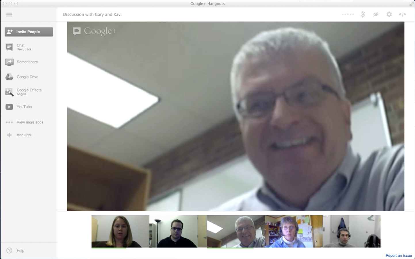 The interface of Google+ Hangout with five individuals participating. Instructor Gary Heberling speaking to the group about his experiences with Google+ Hangout. The person speaking will become the larger center image.