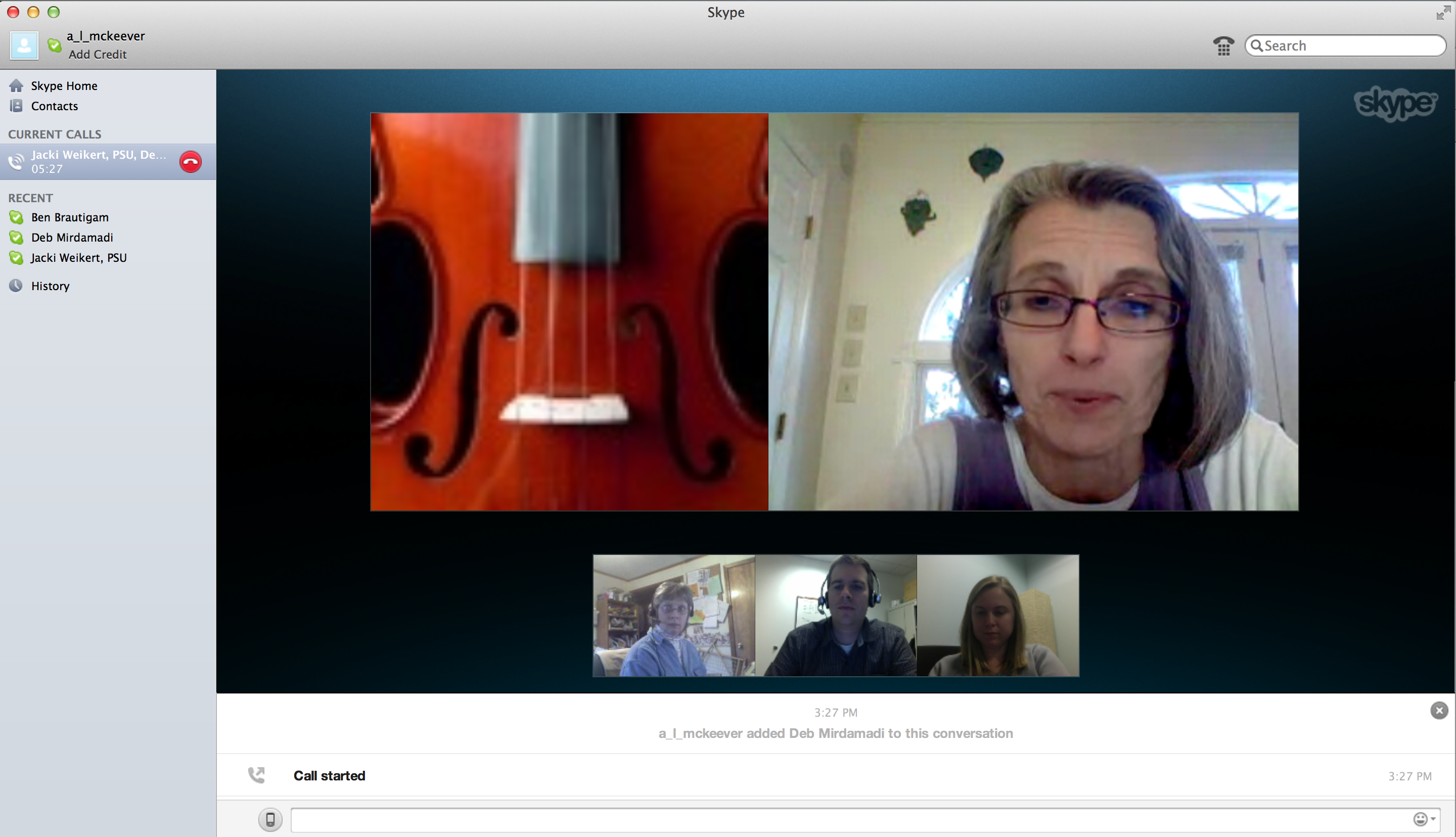 A display of the Skype interface when instructor Deborah Mirdamadi shared her experiences about Skype with the team.