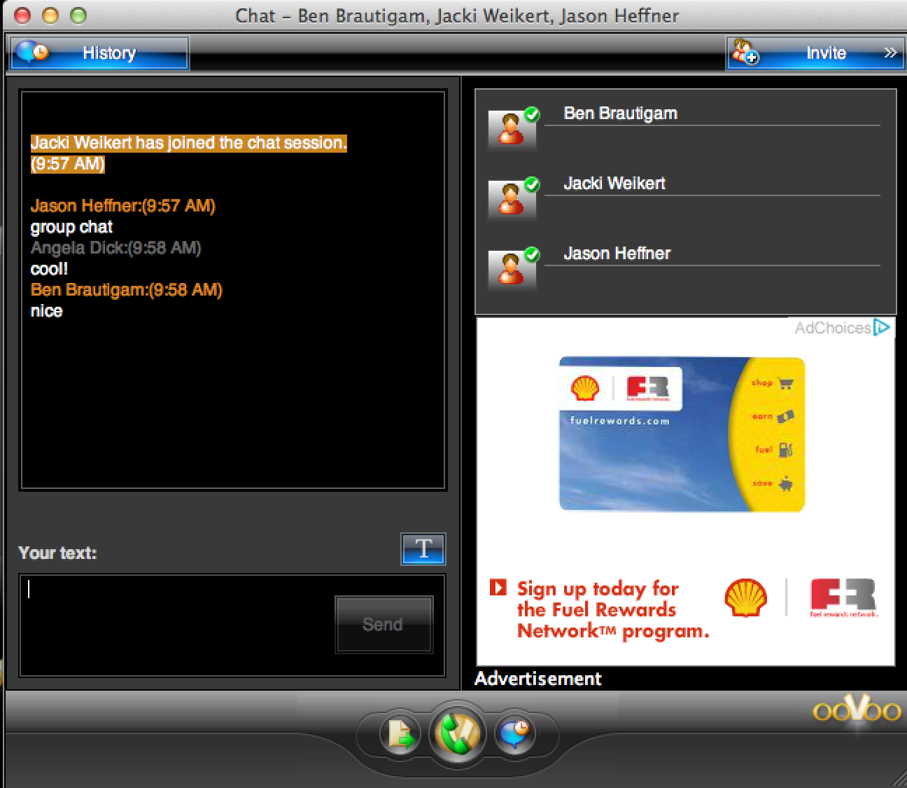 The chat window within ooVoo.
