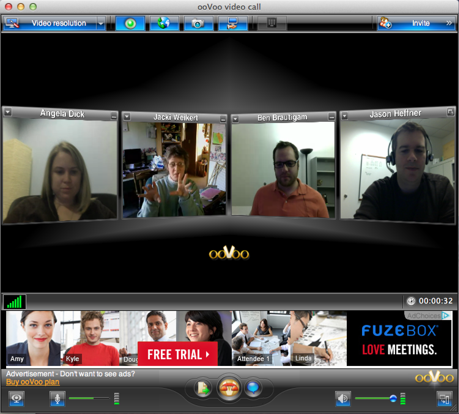 The team experimenting with the ooVoo interface.