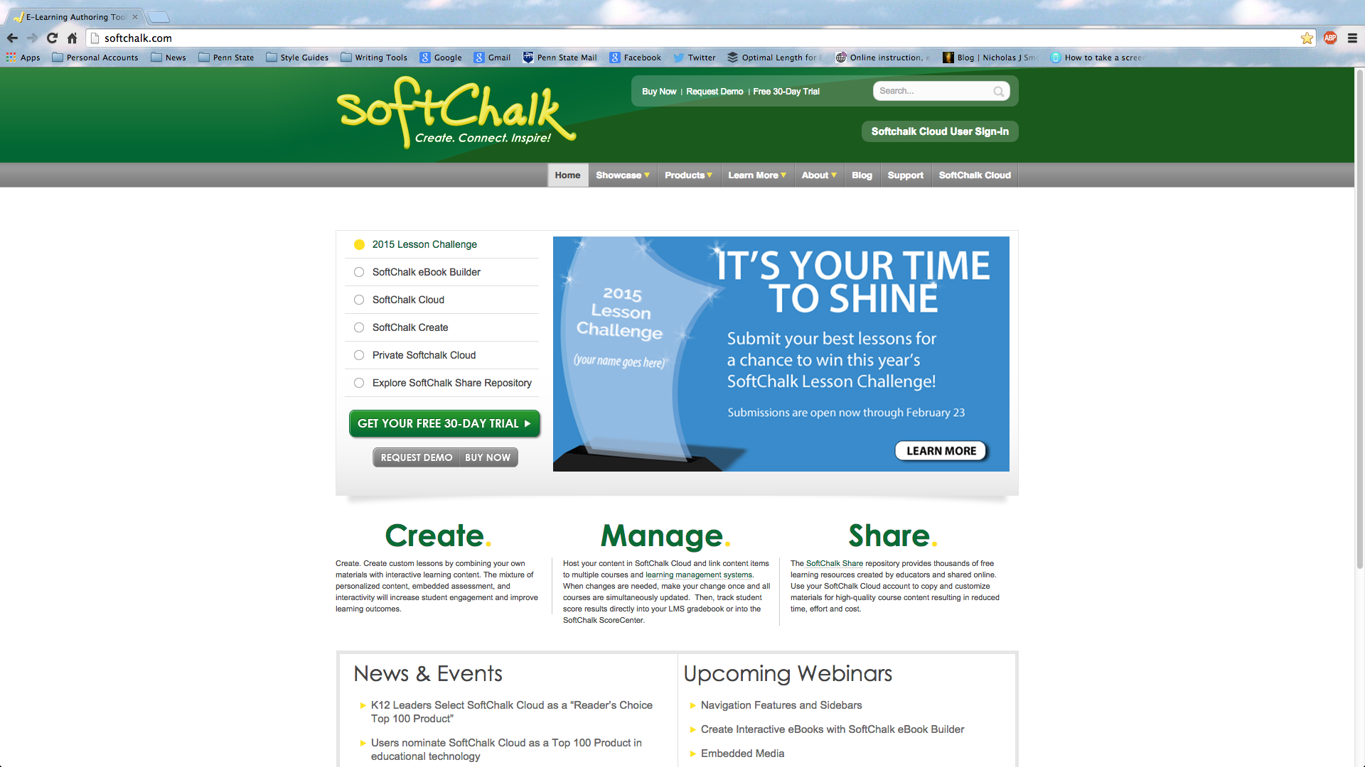 SoftChalk's home web page