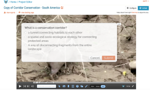 Still capture of a multiple choice conservation question embedded in a GEOG 001 video taken in South America.