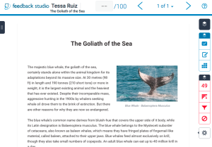 Screen capture of document about the blue whale with Feedback Studio vertical toolbar on right side.