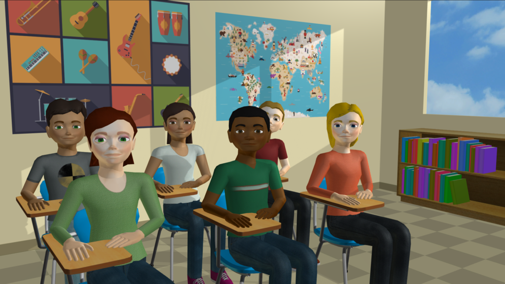 Virtual students in a virtual classroom sit at desks in rows.