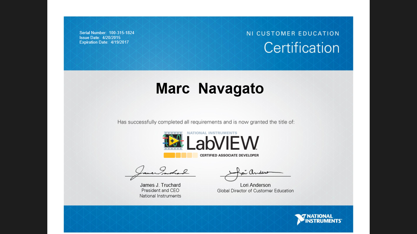Accomplishments marc navagato labview certificate 1betcityfo Choice Image