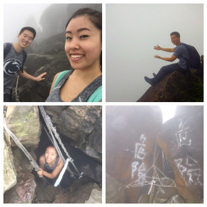 """While the fog covered the scenic views, we still enjoyed the thrills of our spontaneous trip (the bottom right picture says """"danger"""")"""