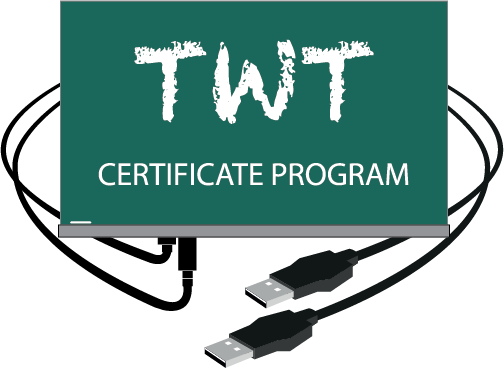 T.W.T. logo on chalkboard with USB connector