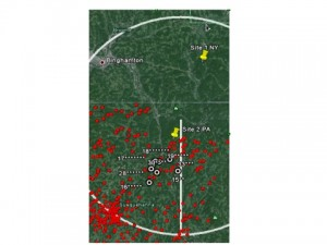 Locations of wells in reference to the PSU Marcellus Pilot Project Sites.  Red dots represent legally permitted wells as of January 2013.