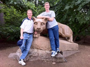 Bill Baker and his son ??? at the Nittany Lion Shrine.