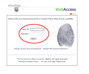 Screenshot of Penn State's WebAccess Page with UserID and Password Fields Indicated