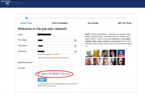 Screenshot of Yammer Profile Creation Screen