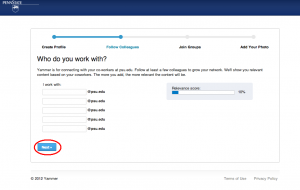 Screenshot of Yammer Invitation Page