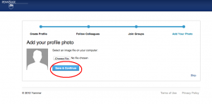 Screenshot of Yammer signup page and option to upload a user photograph