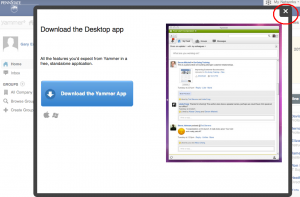 Screenshot of Yammer Popup Box indicating the availability of the Desktop Application
