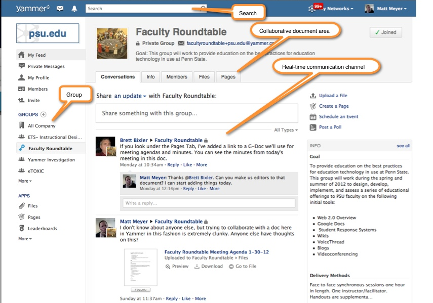 Yammer group page screenshot with search, collaborative document area, real-time communication channel, and group link areas of the page highlighted