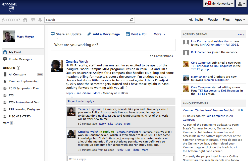 Screenshot of Yammer Activity Feed with sections dedicated to personal information, updates, groups, and an activity feed