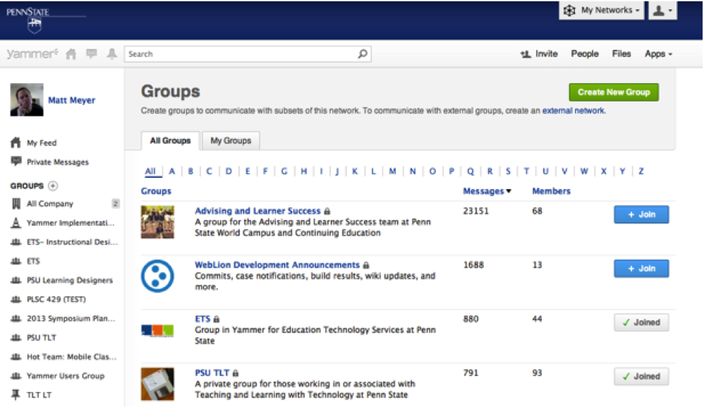 Screenshot of Yammer's Groups screen with the option to view all groups or my groups