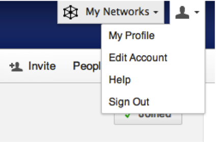 Screenshot of Yammer's Top Menu with options to go to My Profile, Edit Account, Help, and Sign Out