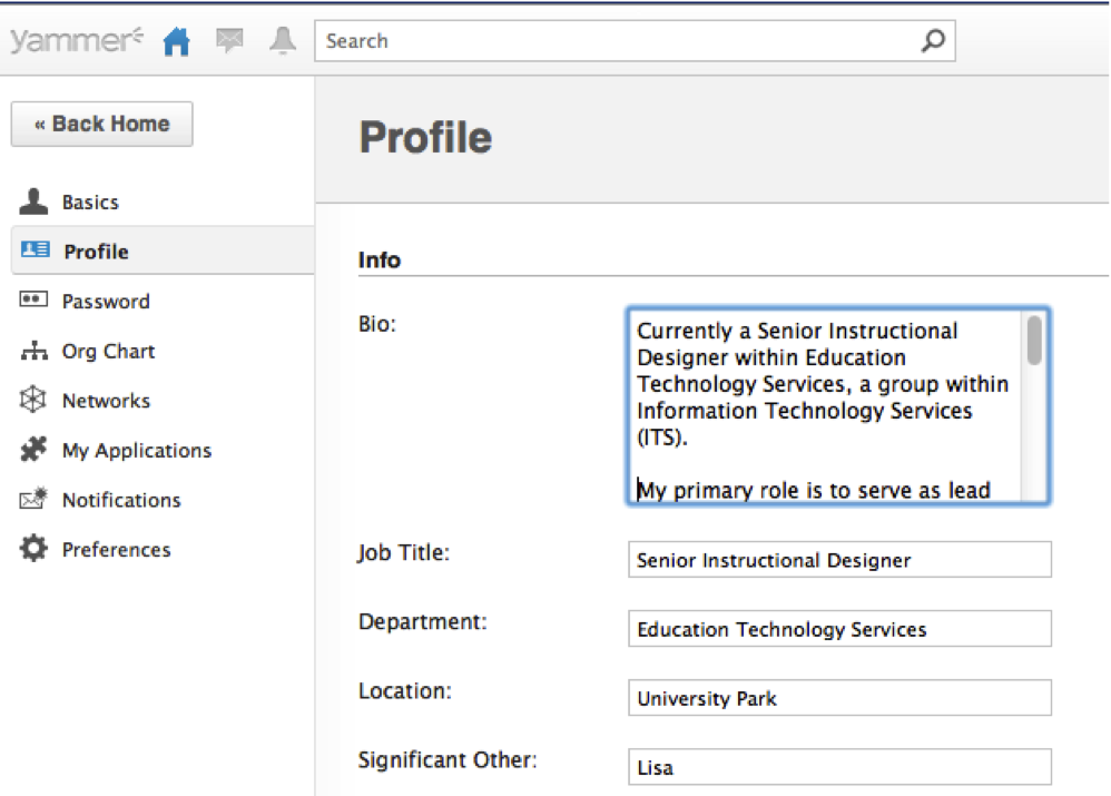 Screenshot of Yammer's Update Profile screen with options to fill out bio, job title, department, location, and significant other