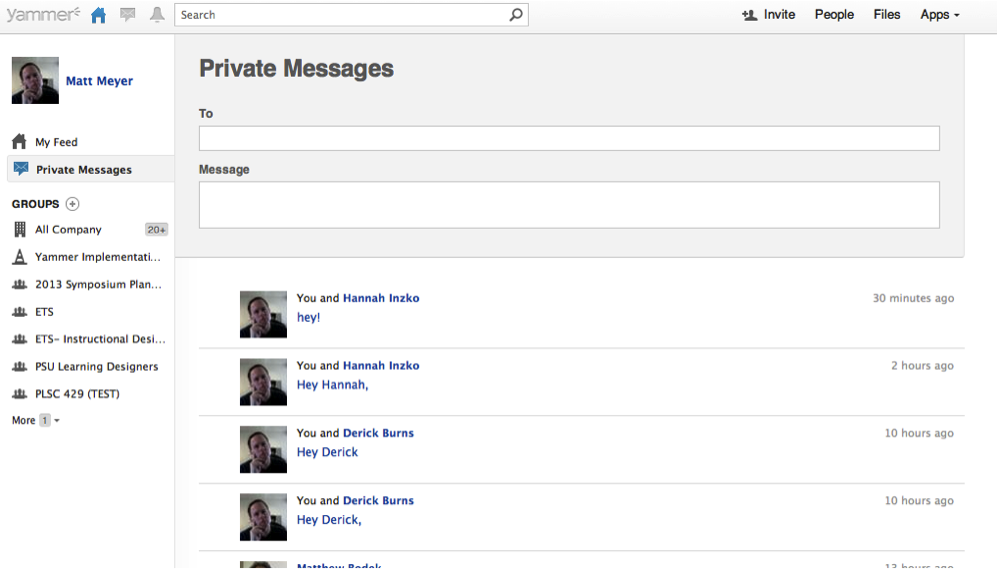 Screenshot of Yammer's Private Messages screen with recipient and message areas to fill out