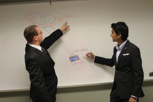 IESE students work on light source diagram.