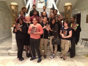 Nina Jablonski with students after a lecture at The College of Physicians of Philadelphia.