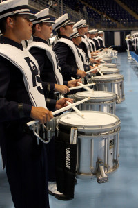 The Blue Band Drumline performs at Tailgreat at the Bryce Jordan Center.