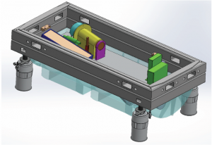 Conceptual drawing of the HPF spectrograph in the vacuum chamber.  The top of the vacuum chamber has been removed to show the spectrograph optics.