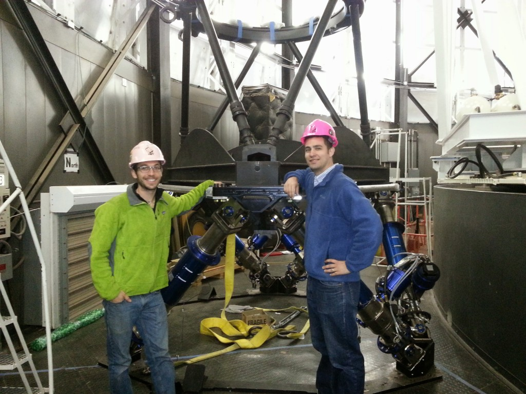 Eric and Paul with the new HET hexapod assembly.  Thanks to the mountain staff for the pretty pink hard hats.