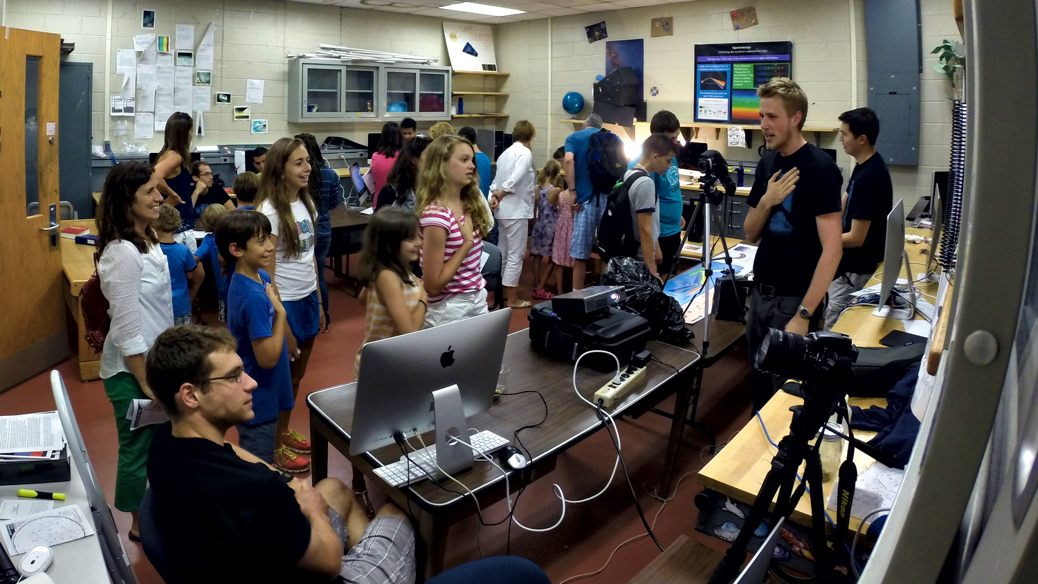 HPF group members and other Astrofest volunteers explain modern planet finding methods where the holy grail is to find habitable planets suitable for life.