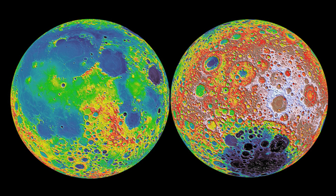 Images of the near (left) and far (right) hemispheres of the Moon, from NASA's GRAIL mission.  Red/white colors indicate higher elevations, while blue/purple colors reflect lower elevation (Image courtesy NASA/GSFC/MIT/LOLA)
