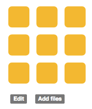 Graphic design showing nine yellow squares, intended to represent collections.