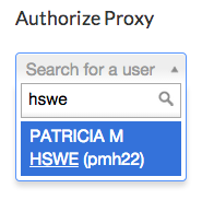 Screenshot of the input box for Authorize Proxy, demonstrating that names rather than PSU IDs can now be entered.