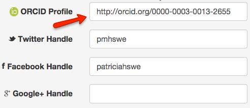 Image of a section of the ScholarSphere profile page where ORCID IDs and social media handles may be input.