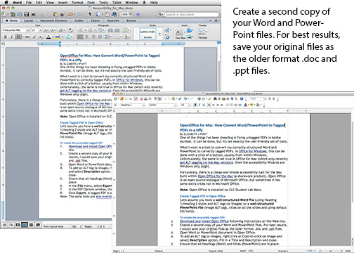 Sample images of Word document and OpenOffice Document