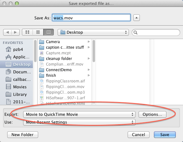 Preparing to re-export a movie in QuickTime, with the Export option set to Movie to QuickTime Movie