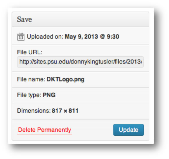 Screen shot of the Save Pane and Updat button