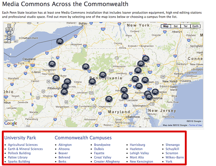 Media Commons Google Map with list of campus location links beneath